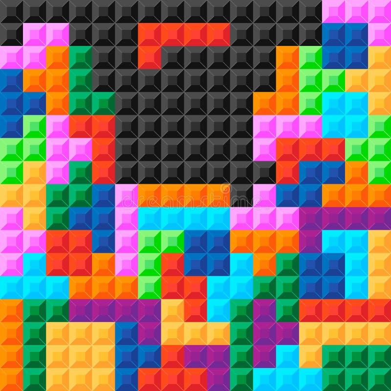 Alte Videospielquadratschablone Ziegelsteinstück-Spielhintergrund Auch im corel abgehobenen Betrag vektor abbildung