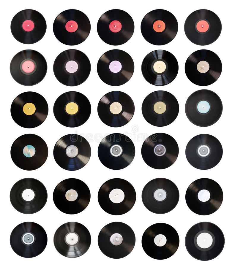 Alte Vinylsatzansammlung stockfotos