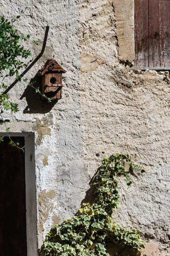 Alte Wand mit Vogelhaus und kletterndem Efeu lizenzfreie stockfotos