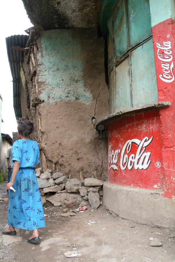 Alte Wandbilder mit Coca Cola in Äthiopien stockfotografie