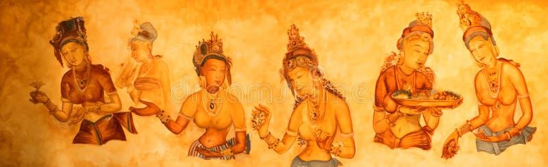 Alte Wandbilder von bewölkten Mädchen bei Sigiriya lizenzfreie stockfotografie