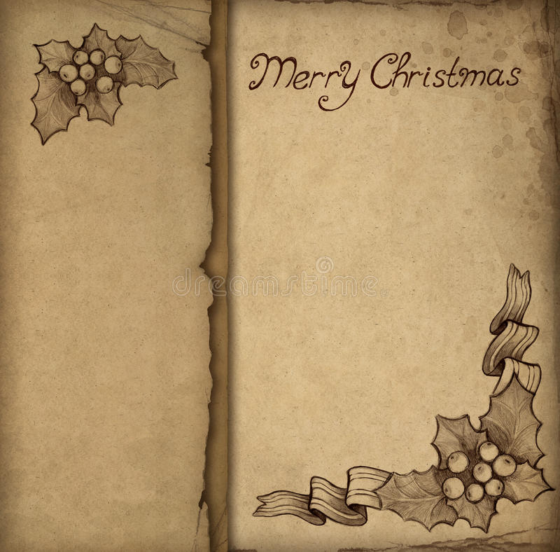 Alte Weihnachtsgrußkarte stock abbildung