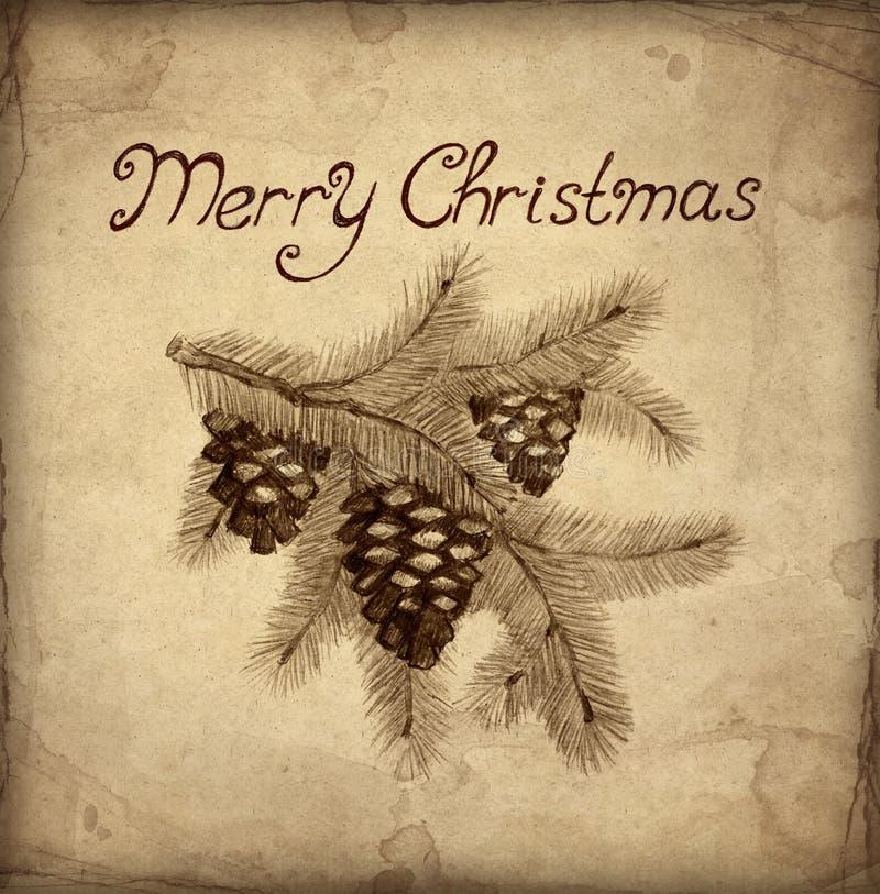 Alte Weihnachtsgrußkarte vektor abbildung