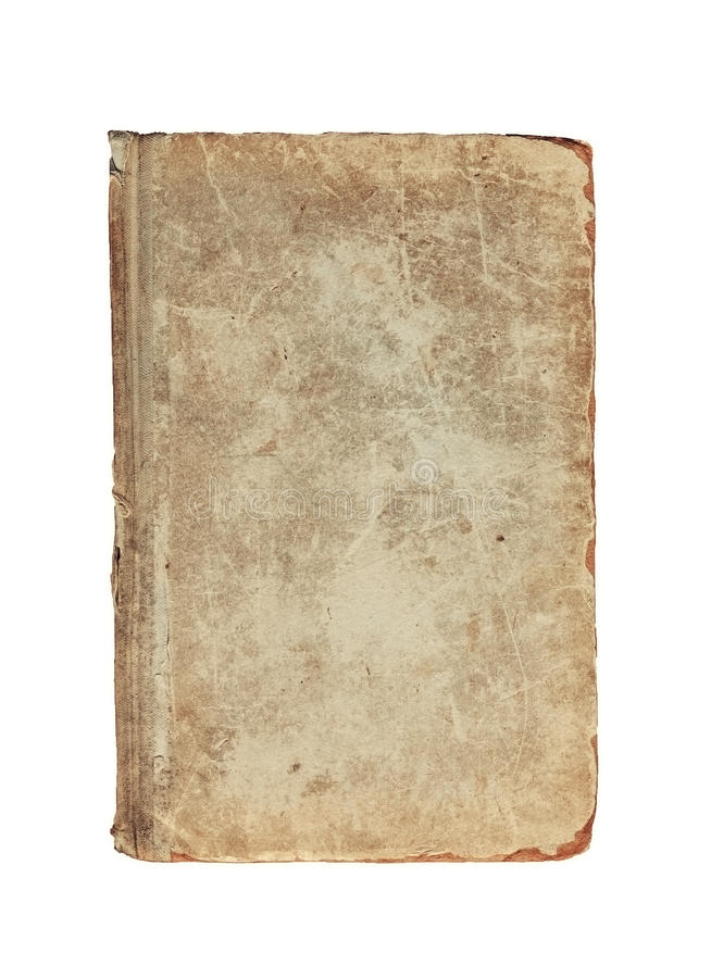 Alte Weinlese maserte Abdeckung des Buches auf einem Weiß stockbilder