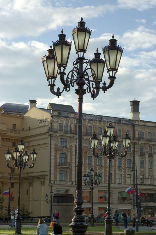 Alte Weinleselaterne der Moskau-Stadt stockfotografie