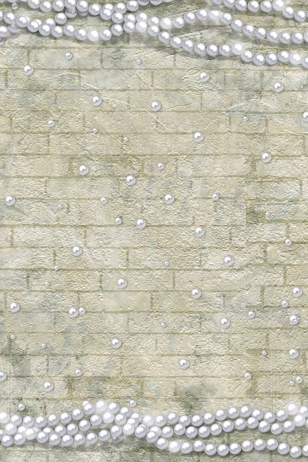 Alte Weinlesepostkarte für Glückwünsche oder Einladungen zum Feiertag mit Perlen lizenzfreie stockfotos