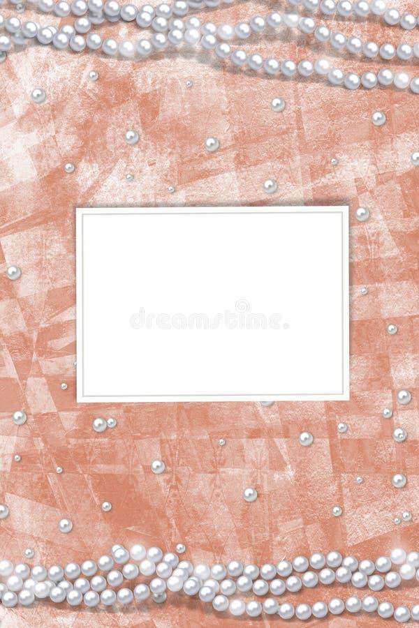 Alte Weinlesepostkarte f?r Gl?ckw?nsche oder Einladungen zum Feiertag mit Perlen lizenzfreies stockbild