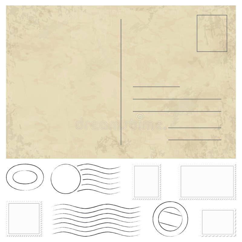 alte Weinlesepostkarte, -stempel und -poststempel vektor abbildung