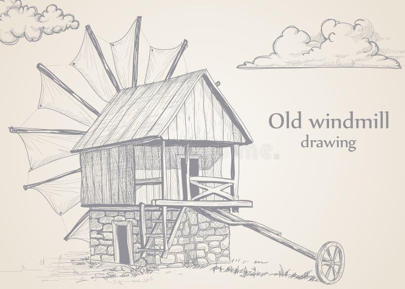 Alte Windmühle vektor abbildung