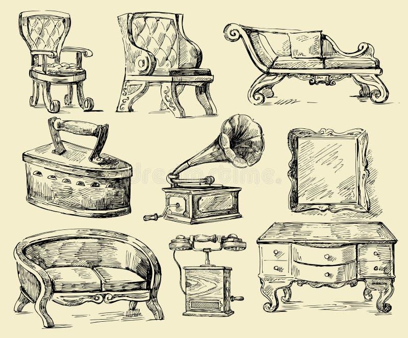 Alte Zeit-ursprüngliche Hand gezeichnetes Set stock abbildung