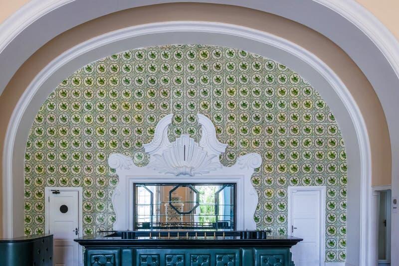 Alte zentrale Bar Quitandinha-Palast-im ehemaligen Kasino-Hotel - Petropolis, Rio de Janeiro, Brasilien stockbilder