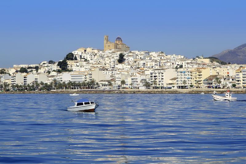 Altea Alicante province Spain view from blue sea royalty free stock images