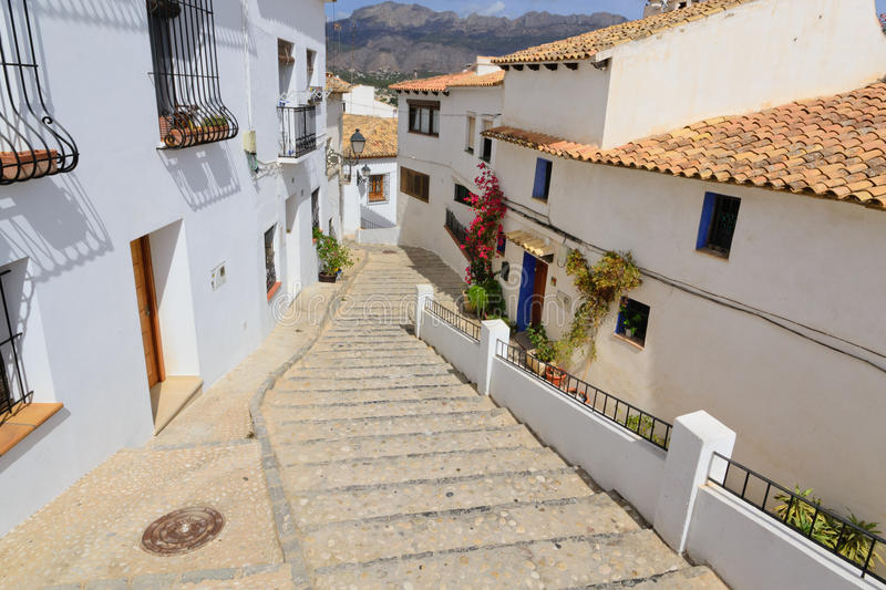 Altea city. Stage. View of the buildings and streets of the Spanish resort town of Altea stock images