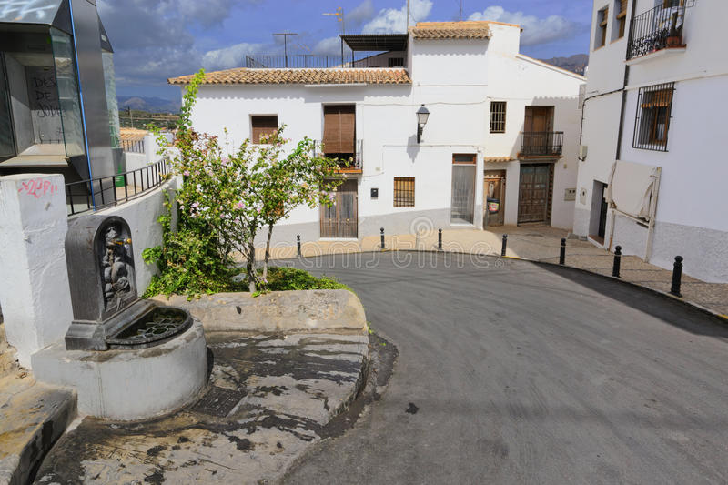 Altea city. Sunny day. View of the buildings and streets of the Spanish resort town of Altea stock photos