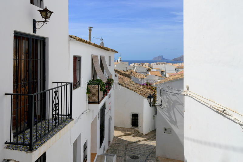 Altea city. View of the buildings and streets of the Spanish resort town of Altea royalty free stock image