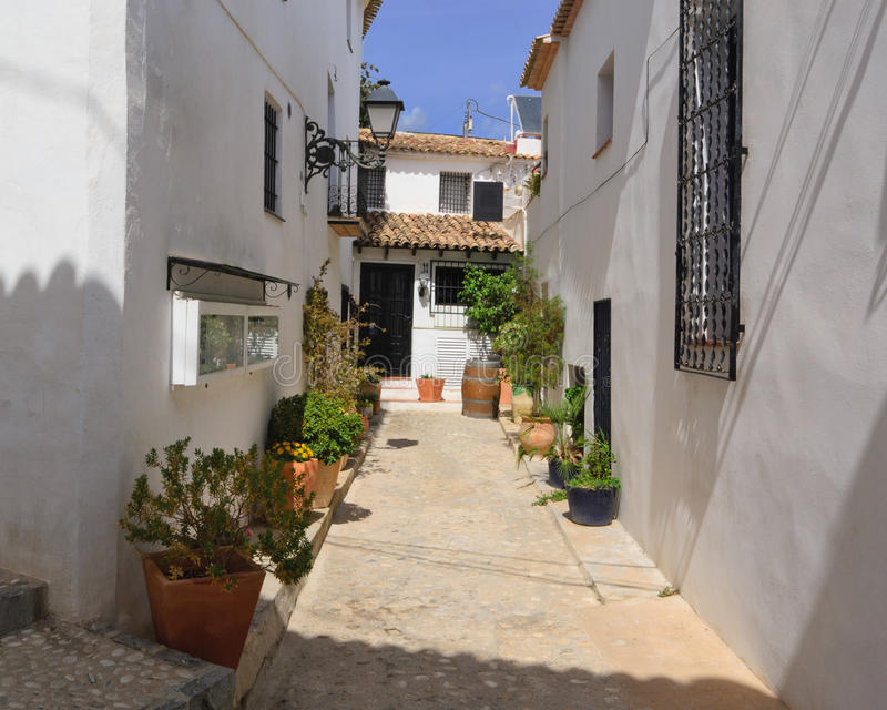 Altea city. View of street. View of the buildings and streets of the Spanish resort town of Altea royalty free stock photos