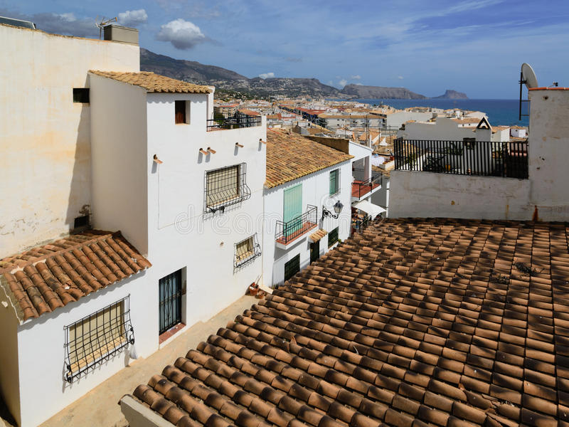 Altea city. View of top. View of the buildings and streets of the Spanish resort town of Altea royalty free stock photography