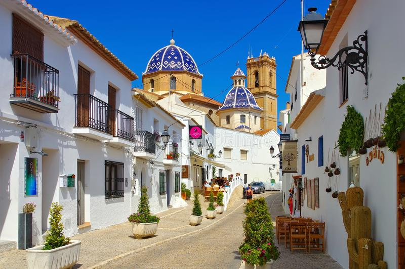 Altea on Costa Blanca, Spain. Cathedral in the old white town Altea on Costa Blanca, Spain stock photo