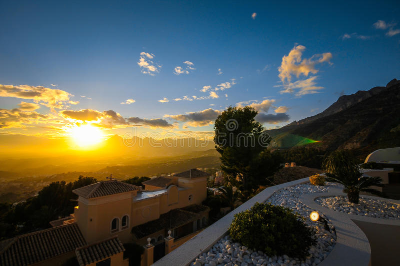 Altea Hills is an amazing landscape of the sun setting in Spain, Costa Blanca, Mediterranean stock image