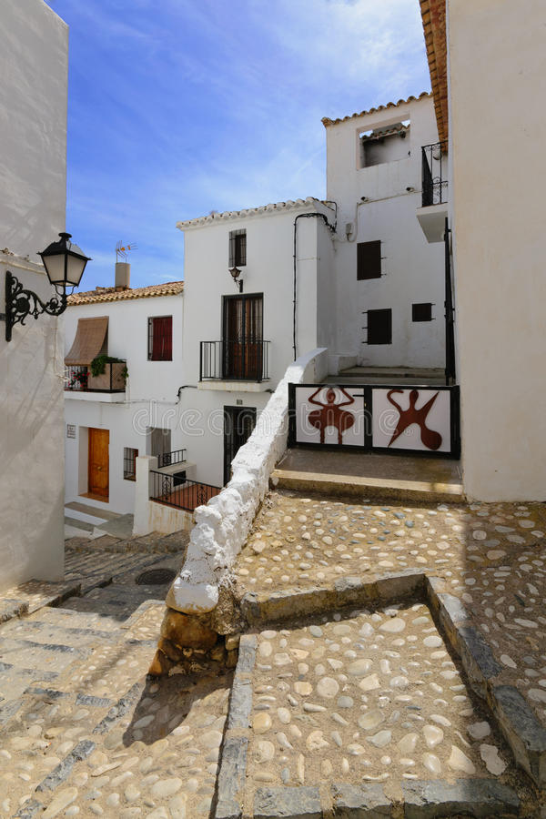 Altea streets. View of the buildings and streets of the Spanish resort town of Altea royalty free stock photography