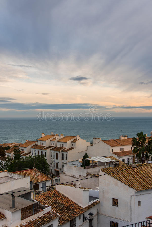Altea white houses at sunset in Costa Blanca, Spain. Altea with white houses at sunset in Costa Blanca, Spain royalty free stock photos