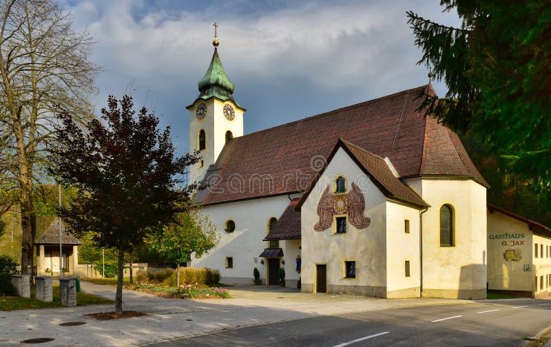 Old catholic church on a sunny autumn day. Altenmarkt bei Sankt Gallen, state of Styria, Austria. ALTENMARKT BEI ST. GALLEN, AUSTRIA - OCTOBER 16, 2018. Old stock photos