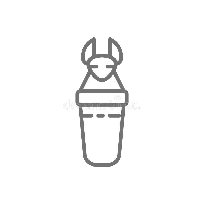 Alter ägyptischer Sarkophag, Canopic rüttelt Linie Ikone stock abbildung