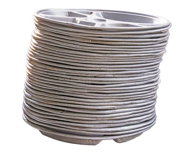 Alter Aluminiumschulbehälter stockfotos