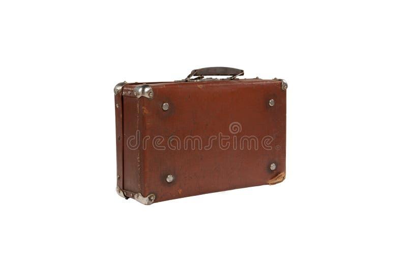Alter antiker Koffer mit abgerieben lokalisiert auf Weiß lizenzfreie stockbilder
