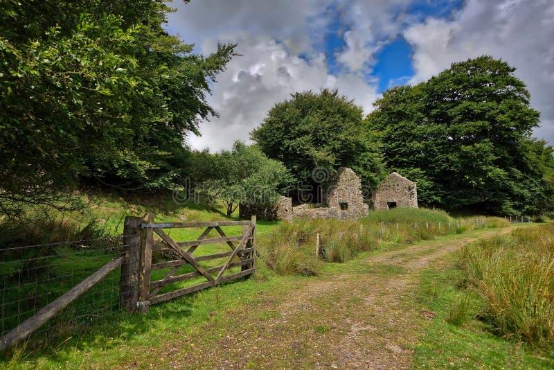 Alter aufgegebener Graite Tin Mine auf Dartmoor in England lizenzfreie stockbilder
