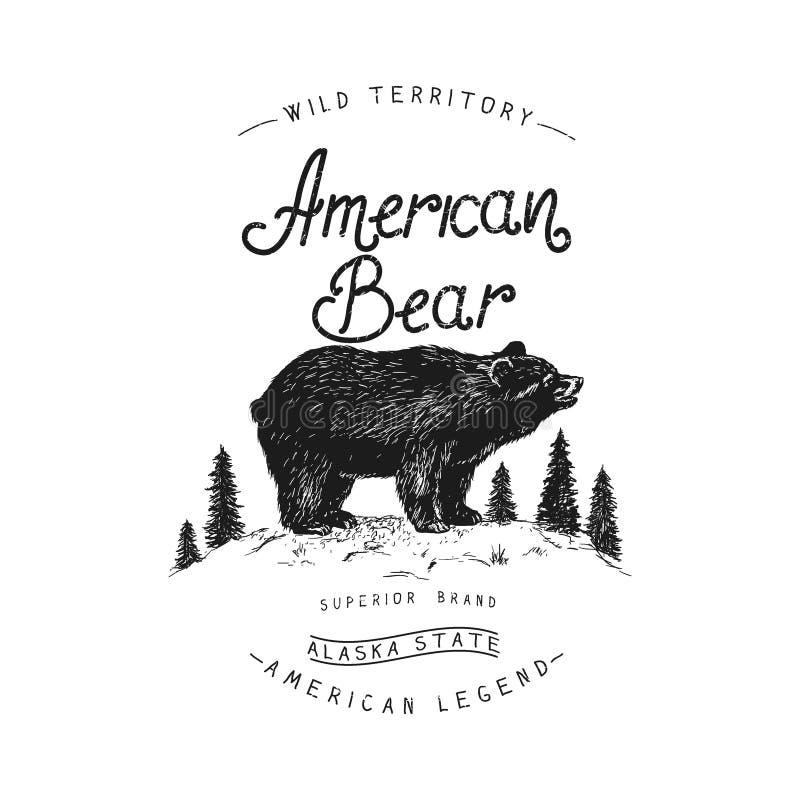 Alter Aufkleber mit Bären lizenzfreie abbildung