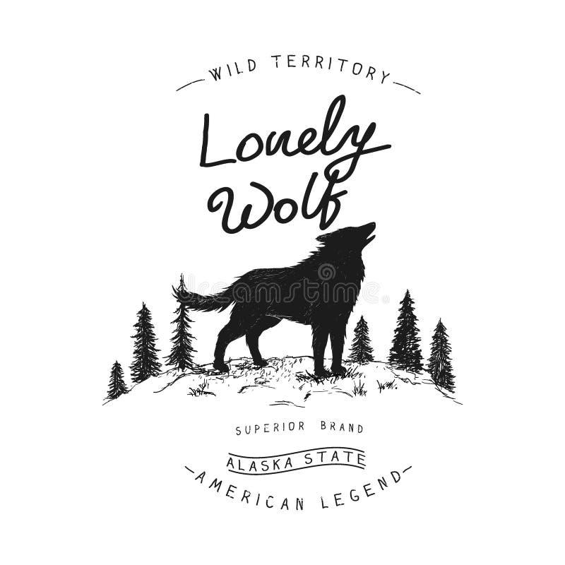 Alter Aufkleber mit Wolf stock abbildung