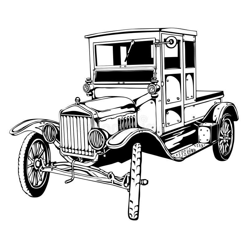 Alter Auto-LKW vektor abbildung. Illustration von bewegung - 31807397