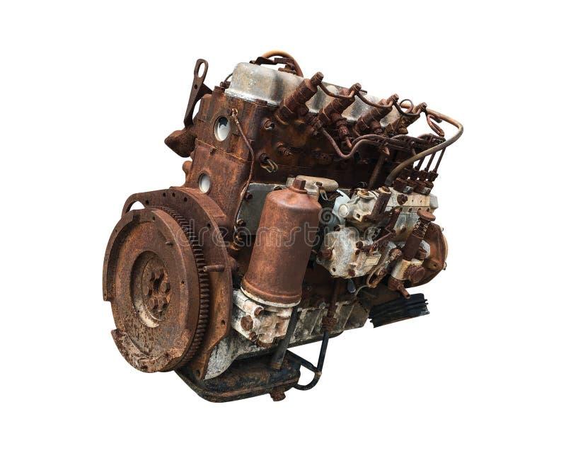 Alter Automotor lokalisiert auf weißem Hintergrund Rostige Automobilmaschine ?ber Wei? stockfoto
