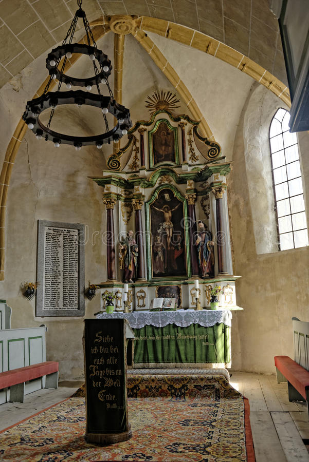Alter in Axente Sever Church. Alter in Axente Sever Fortified Church in Frauendorf, Romania stock photo