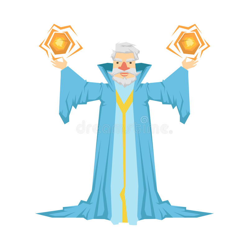 Alter bärtiger Zauberer in einer blauen Robe, die zwei magische Bälle in seinen Händen hält Bunte Märchencharakter Illustration stock abbildung