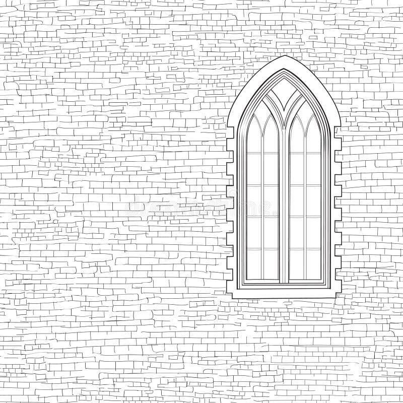 Alter Backsteinmauerhintergrund mit gotischem Fenster Schäbiger Ziegelstein w vektor abbildung