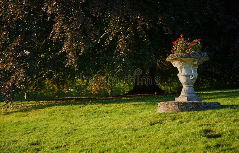 Alter barocker Steinparkvase mit roten Blumen stockfoto