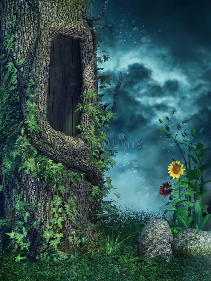Alter Baum mit Efeu lizenzfreie abbildung