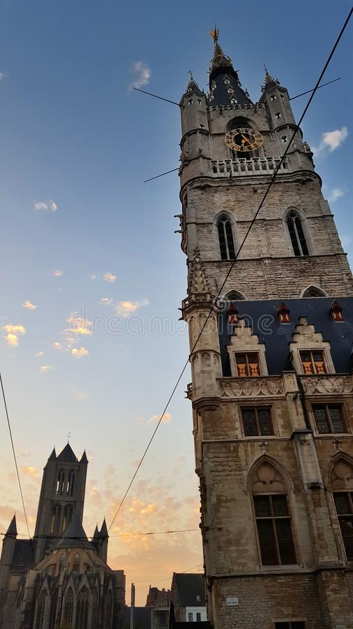 Alter belgischer mittelalterlicher Stadtherr stockbild
