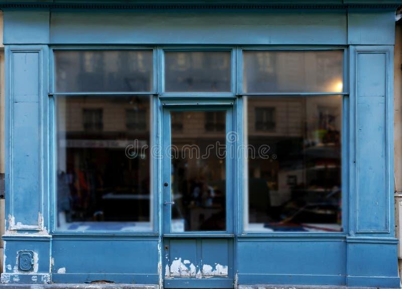 Alter blauer Shop stockfoto