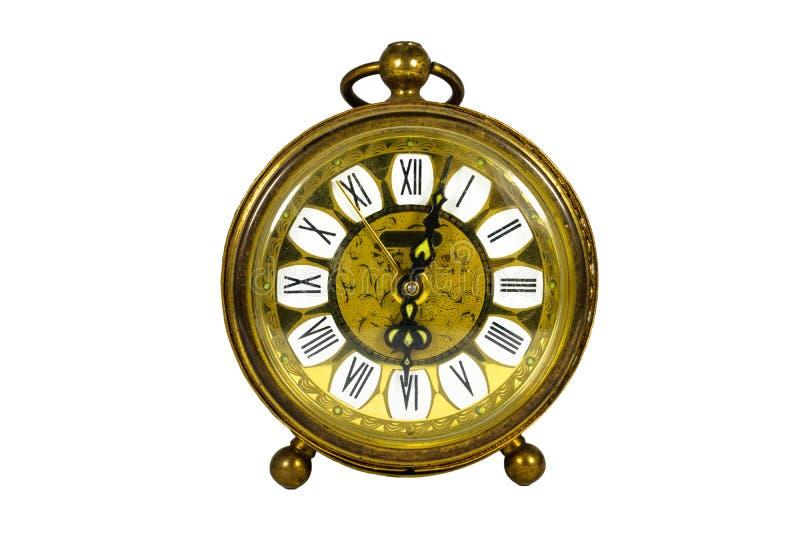 Alter Blechbläser herauf die Uhr, die auf Weiß, Weinlese lokalisiert wurde, verwitterte, a lizenzfreies stockfoto