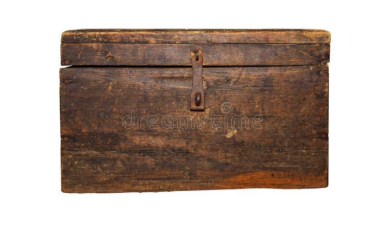 Alter, brauner Kasten, lokalisiert auf weißem Hintergrund stockfotografie