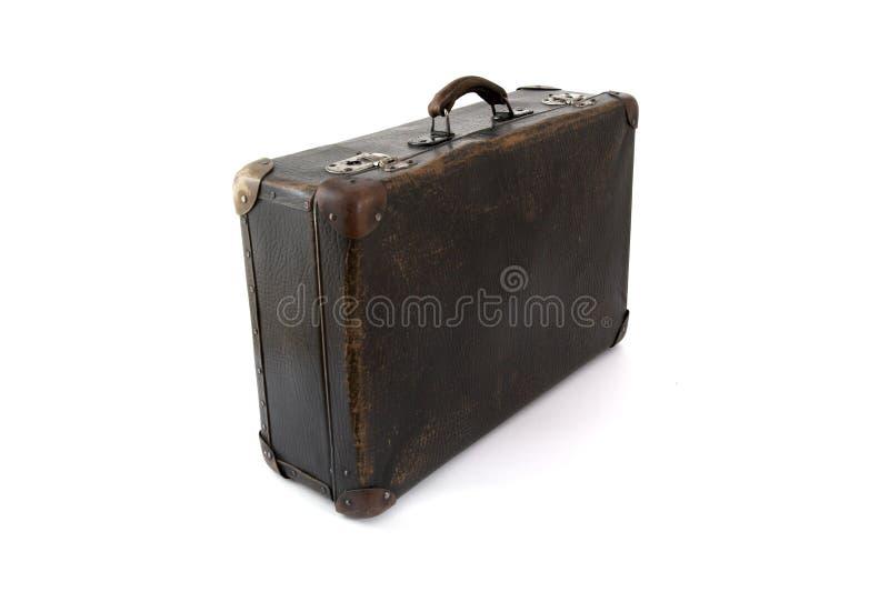 Alter brauner Koffer für Reise lizenzfreie stockbilder