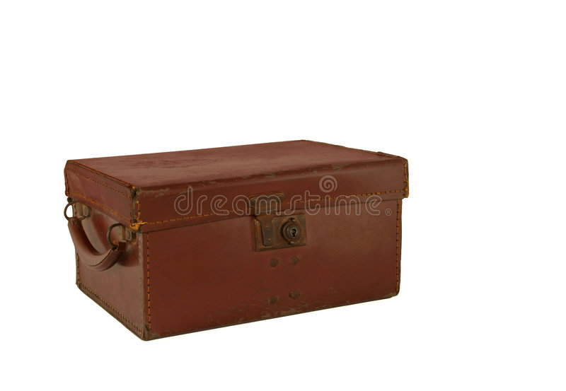 Alter Brown-lederner Kasten-Kasten stockbilder