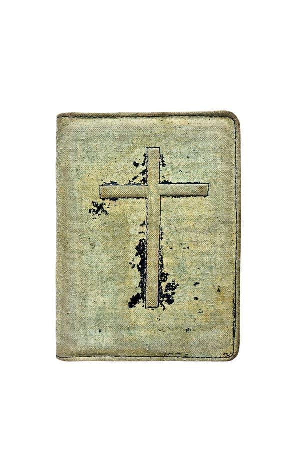 Alter Bucheinband auf ihm ein Kruzifix stockfotografie