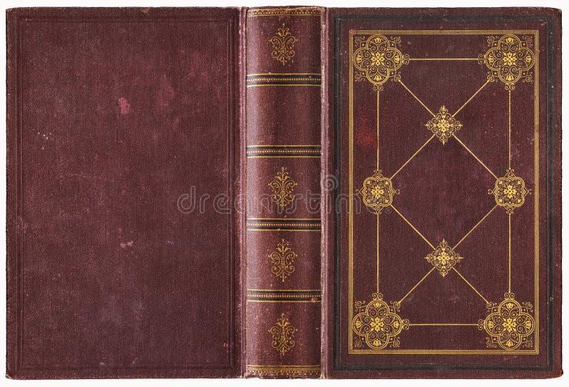 Alter Bucheinband des offenen Buches - circa 1889 stockfotografie