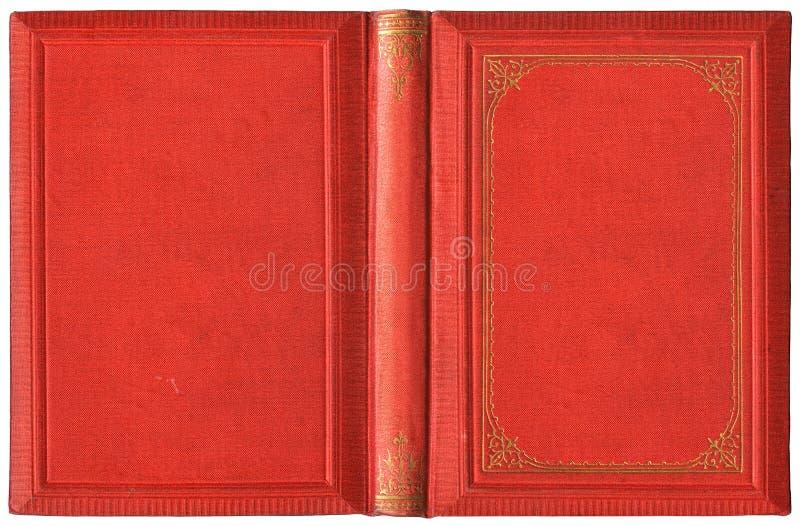 Alter Bucheinband des offenen Buches im roten Segeltuch und in prägeartigen goldenen Dekorationen - circa 1895 stockfoto