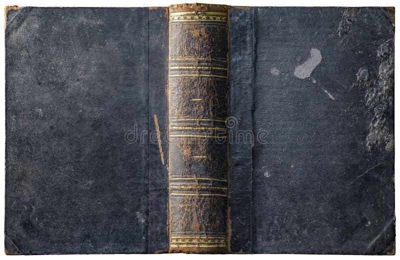 Alter Bucheinband des offenen Buches mit getragen maserte grungy Kartons stockfoto
