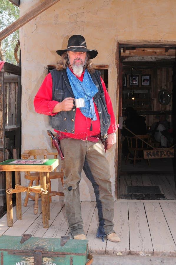 Alter Cowboy-Revolverheld stockbilder